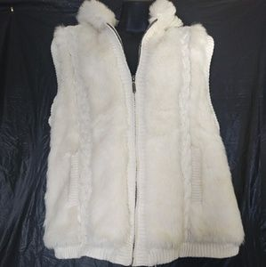 Off White Faux Fur Zippered Vest